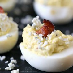 Bacon Blue Cheese Deviled Eggs by Nutmeg Nanny