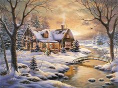 Thomas Kinkade River Cabin Cross Stitch PatternLK I by Christmas Scenes, Christmas Pictures, Christmas Art, Country Christmas, Christmas Desktop, Thomas Kinkade Art, Thomas Kinkade Christmas, Kinkade Paintings, Thomas Kincaid