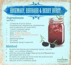 Awaken your taste buds with this perfect #summer tipple of tangy #rhubarb & sweet berries #cocktail #recipe card