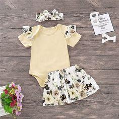 2019 nueva moda infantil niño recién nacido chico chica Tops de manga corta  mameluco Floral vestido diadema trajes conjunto ropa 3 piezas. Baby  Accessories 02bdf769a99