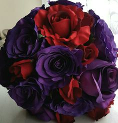 Deep Red and Purple Rose Bridal Bouquet www. Orchid Bridal Bouquets, Purple Flower Bouquet, Rose Bridal Bouquet, Purple Wedding Flowers, Purple Roses, Purple Flowers, Wedding Bouquets, Deep Purple, Wedding Pins