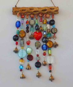 Glass Beaded Wind Chime windchime and by LTreatDesigns on Etsy Drift wood/ rain stick Music Crafts, Easy Crafts, Arts And Crafts, Mobiles, Wind Charm, Suncatchers, Bead Art, Wind Chimes, Glass Art