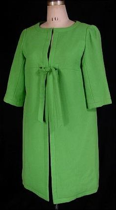7c8a82c517b2 early 1960 s Labeled HUBERT de GIVENCHY - PARIS Lime Green Wool Tie Coat 60  Fashion