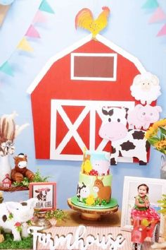 Check out this cute farm-themed 1st birthday party! The cake is amazing! See more party ideas and share yours at CatchMyParty.com #catchmyparty #partyideas #farm #farmanimals #farmparty #girl1stbirthday