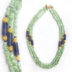 Green Aventurine, Lapis Lazuli, Beaded Necklace, Jewelry Design, Stone, Detail, Beaded Collar, Rock, Pearl Necklace