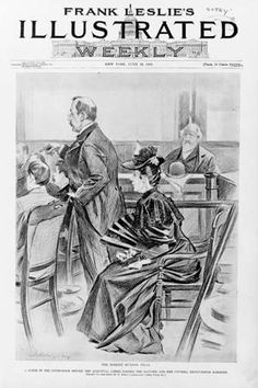 Borden, Lizzie: Borden and her attorney in the courtroom before her acquittal