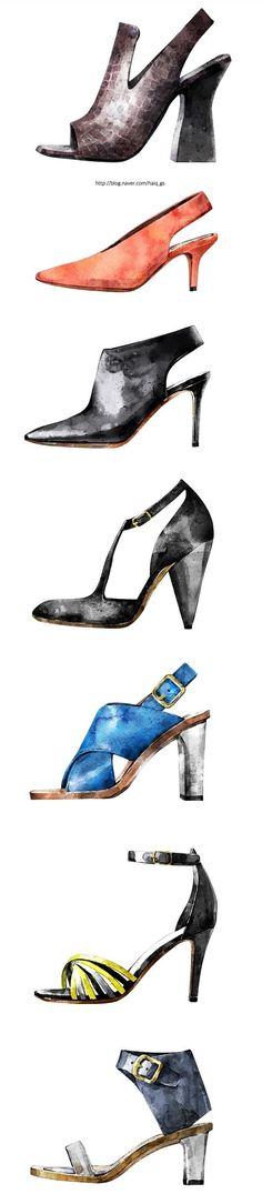 gueseul kim (2015) shoes illustration #fashion illustration #watercolor #illustration