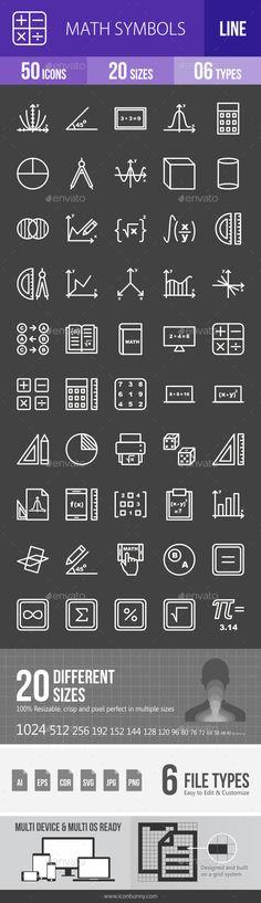 Math Symbols Line Inverted Icons