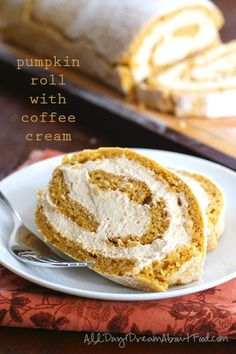 A delicious low carb, gluten-free pumpkin roll filled with coffee whipped cream and made with Certified Humane cage-free eggs. Low Carb Sweets, Low Carb Desserts, Low Carb Recipes, Flour Recipes, Healthy Sweets, Thanksgiving Desserts, Fall Desserts, Thanksgiving Traditions, Gluten Free Pumpkin