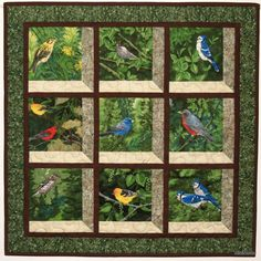This Attic Window wall hanging gives the illusion that you are looking through a window to a view of nature beyond. Perched on branches and in grasses are a variety of colourful songbirds. The window frames are sewn with two fabrics of different intensities and with a mitered seam which gives a 3-D effect.  On the back is a sleeve along the top edge so that it can be hung on a rod or dowel. The edges are bound in a double fold binding and hand-stitched in place to the back.  The wall hanging…