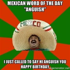 """mexican word of the day """"anguish"""" i just called to say hi anguish you happy birthday   Successful Mexican #compartirvideos.es #happybirthday"""