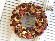 14 Dried Nuts Wreath  Kitchen Wreath  Dried Fall by SteliosArt