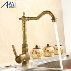 360 Rotate Antique Brass Finish Kitchen Faucets Bathroom Basin Sink Faucet Mixer Tap