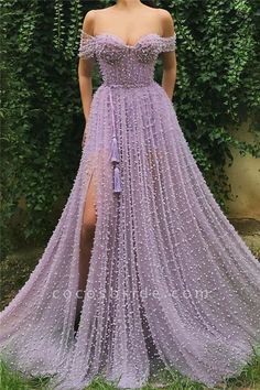 Details - Lavender dress color - Tulle dress fabric with embroidered purple beads - Fringe dress ribbon - Off-shoulder gown with an open leg and waist definition - Dress for parties and special events Source by etankeh dresses Affordable Prom Dresses, Elegant Dresses, Sexy Dresses, Fashion Dresses, Pretty Dresses, Casual Dresses, Awesome Dresses, Work Dresses, Modest Dresses