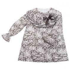 Vestido floral Eve Eve Children, Double Ruffle, Wales, Ruffles, Kids Fashion, Girls Dresses, Zip, Grey, Long Sleeve