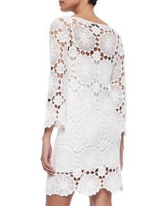 TA0E1 Trina Turk Summertime 3/4-Sleeve Lace Dress
