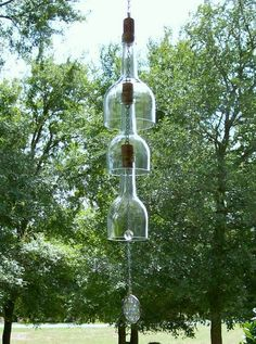 Dishfunctional Designs: Glass Bottles: Upcycled & Repurposed As Home Decor - recycled bottle wind chime