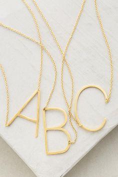 Slide View: 1: Monogram Pendant Necklace - letter E of course