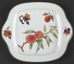Royal Worcester | Evesham Vale | square handled cake plate. & Royal Worcester | Evesham Vale | egg cup. | Royal Worcester Evesham ...