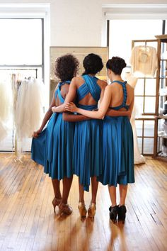 What a great idea... These are all three the same dress--the infinity dress, which can be worn many different ways and is flattering on nearly every body type, AND easy to make--perfect for bridesmaid dresses!