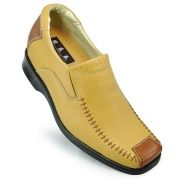 Yellow Cowhide Leather Upper Elevator Shoes For Men