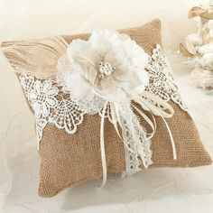 Rustic Burlap and Lace Ring Pillow