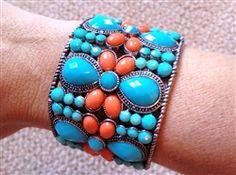 Turquoise Jeweled and Coral Bracelet #turquoise bracelet #bracelet #jewelry