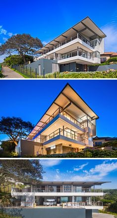 This modern house is three levels and faces the ocean. The main floor features an outdoor pool and the entertaining areas, while the top floor is home to the bedrooms.