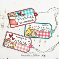 Lawn Fawn Merry Christmouse Christmas Gift Tags by Lexa Levana.