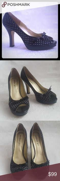 "Madden Girl Polka Dot Peep Toe Pumps Madden Girl black and white polka dot peep toes pumps with 4"" heels. Style is ""LINK"".  Excellent used condition. Smoke free and pet free home.  Check out my other listings - 100's of 👠shoes👠, 👢boots👢 and 👜bags👜. Bundle 2 or more and save money!💲💰💲 (81023) Madden Girl Shoes Heels"
