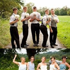 funny . . . Groomsmen immitate the bridesmaids and vice versa