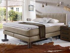 Modernes Boxspringbett Gehüllt In Hochwertiges Luxus Kunstleder. | Betten.de  #industrial #