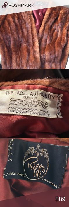 Mink stole vintage Mink stole vintage lined with pocket slits Riff's Jackets & Coats Capes