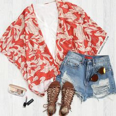 Go for something artsy for a day and slip into this cover-up.Features classive short-sleeved, open front and loose fit-fall loosely over the body.then its floral print makes it easy to match with any other colors in your wardrobe.