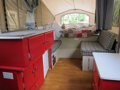 IM LIKING THE GREY AND RED!!! Decorating A Pop-Up Camper | Pop up camper decorating ideas