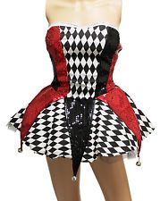 Sexy Harley Quinn Circus Clown Jokers Costume Dress for Cosplay Halloween Party