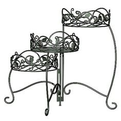 Plant Stands 29514: 3 Tiered Folding Scrolls Ivy Plant Stands Black Brushed  Bronze Leaves