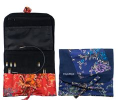 "HiyaHiya 4"" Steel Interchangeable Set - Small Sizes 2-8US: Each set also includes a practical and portable brocade case and needle grips. Assorted fabric cases. Tip length is approximately 4"". Optional cables and individual tips are also available."