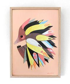 """Echidna"" --------------------- ▲ ORIGINAL ARTWORK ▲ --------------------- 32cm wide x 44cm high Collage, Acrylic on 300gsm Arches Watercolour Pape..."