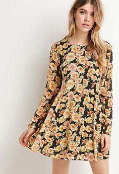 Rose Print Babydoll Dress   Forever 21 - 2000154338