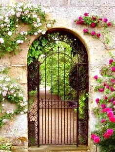 a lovely garden entrance . wrought iron gate, climbing roses and arched doorway; So pretty!