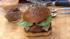Caramelized onion jam and chili sauce make this burger sweet and spicy