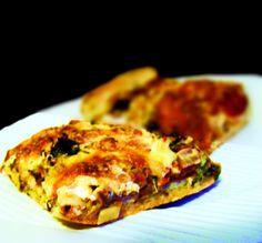 Veggie Pizza with Kale, Mushroom, Onion, & Fresh Mozzarella Cheese