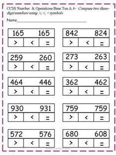 comparing numbers 2nd grade worksheet free printables 2nd grade worksheets math classroom. Black Bedroom Furniture Sets. Home Design Ideas