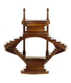 Double Stairway Model, late 19th century. Cherry. Joining at the top and base with opening at center.France.