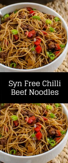 Syn Free Chilli Beef Noodles - Dig into a caretaker quick incurvation of Syn Unbound Chilly Boeuf Noodles - a delicious Denizen inspired supply with a spicy kicking. Slimming World Chilli Beef, Slimming World Noodles, Slimming World Recipes Syn Free Chicken, Slimming World Fakeaway, Slimming World Dinners, Slimming World Diet, Slimming Eats, Slimming Recipes, Thai Cooking