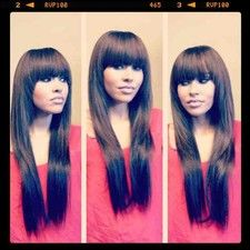 Full Sew In Weave w/ Layers  Fringed Bangs