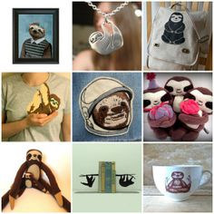Cute sloth products on Quirky Pony!