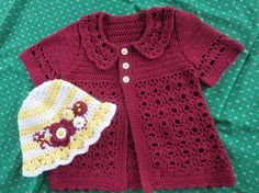 Handmade Crochet Sweater Cardigan and Hat by uniquestitchesdetroit