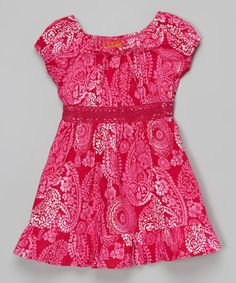 Loving this Fuchsia Paisley Crochet-Panel Peasant Dress - Toddler on #zulily! #zulilyfinds